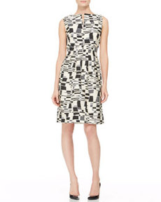 Split-Front Jacquard Sheath Dress   Split-Front Jacquard Sheath Dress