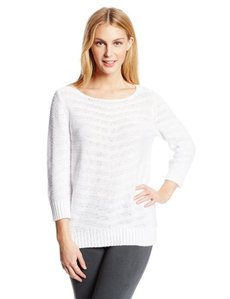 Jones New York Women's Three Quarter Sleeve Boat Neck Pullover Sweater