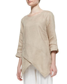 Go Silk Linen Asymmetric Long Tunic