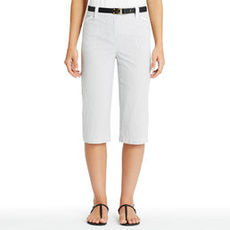Cropped Cotton Cargo Pants with Drawstring Waist