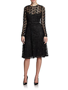 Carmen Marc Valvo Belted Illusion Lace Dress
