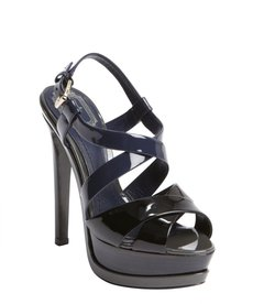 Christian Dior black colorblock patent leather peep toe platform sandals