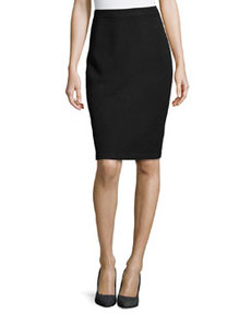 St. John Signature Santana Knit Pencil Skirt, Onyx