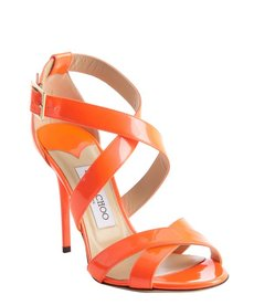 Jimmy Choo neon flame orange strappy patent leather 'Lottie' sandals