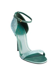 Gucci blue suede crystal embellished open toe sandals