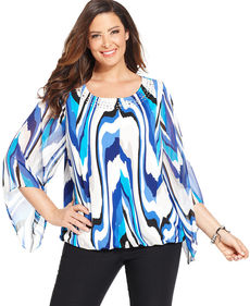 Alfani Plus Size Embellished Printed Top