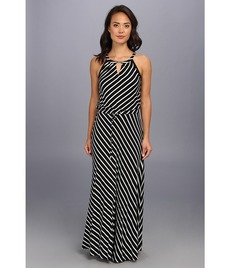 Calvin Klein Stripe Keyhle Maxi Dress