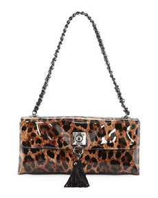 Moschino Small Leopard-Print Tassel Shoulder Bag, Maroon