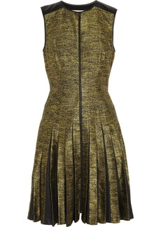 Jason Wu Leather-trimmed silk-blend jacquard dress