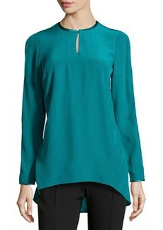 Lafayette 148 New York Jarina Satin-Trimmed Matte Silk Tunic, Dragonfly