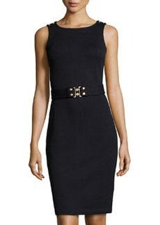 St. John Belted Knit Tank Dress, Onyx