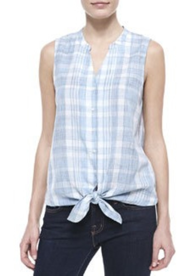 Joie soft joie fanning plaid sleeveless top dress shirts for Soft joie plaid shirt