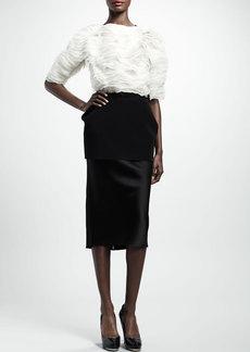Lanvin Jersey-Peplum Duchesse Pencil Skirt, Black
