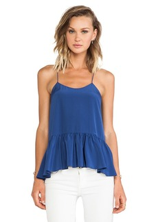 Tibi Silk Strappy Ruffle Cami Tank in Blue
