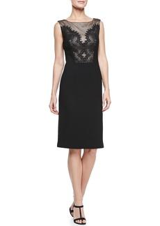 David Meister Sleeveless Lace Bodice Cocktail Dress