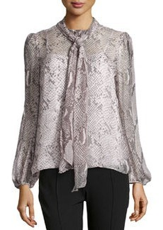 Diane von Furstenberg Jezebel Python-Print Silk Blouse, Gray