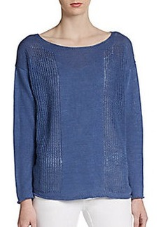 Lafayette 148 New York Boatneck Knit Panel Sweater