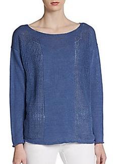 Lafayette 148 New York Boatneck Knit Panel Sweater