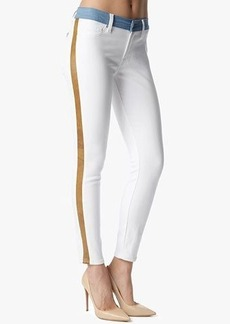 """The Mid Rise Ankle Skinny with Faux Leather Trim in White (28"""" Inseam)"""""""
