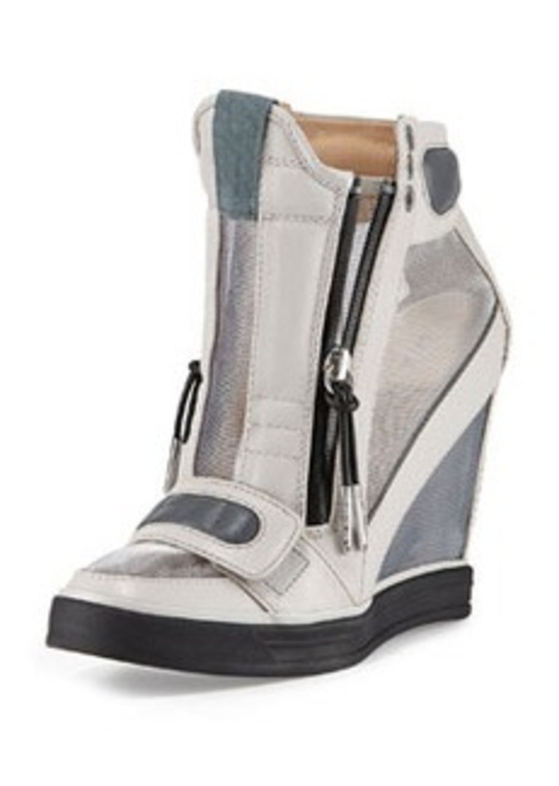 L.A.M.B. Stephanie Mesh-Panel Wedge Sneaker, Gray