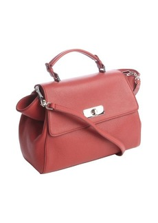 Armani red leather flap top convertible tote