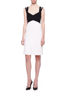 Narciso Rodriguez Double-Strap Colorblock Dress, Black/White