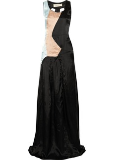 Marni Color-block textured-satin gown