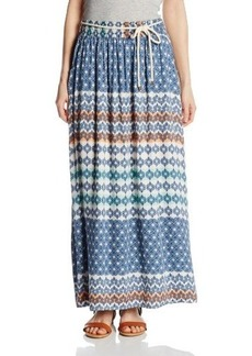 Democracy Women's Woven Printed Maxi Skirt with Elastic Waistband