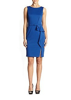 David Meister Belted Sheath Dress