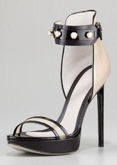 JASON WU Nadja Pearly-Strap Platform Sandal, Nude/Black