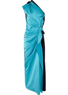 Lanvin Two-tone asymmetric satin gown