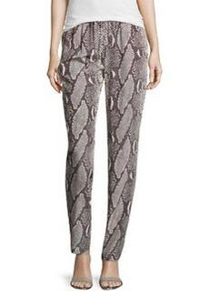 Diane von Furstenberg Bennett Two Python-Print Silk Pants, Gray