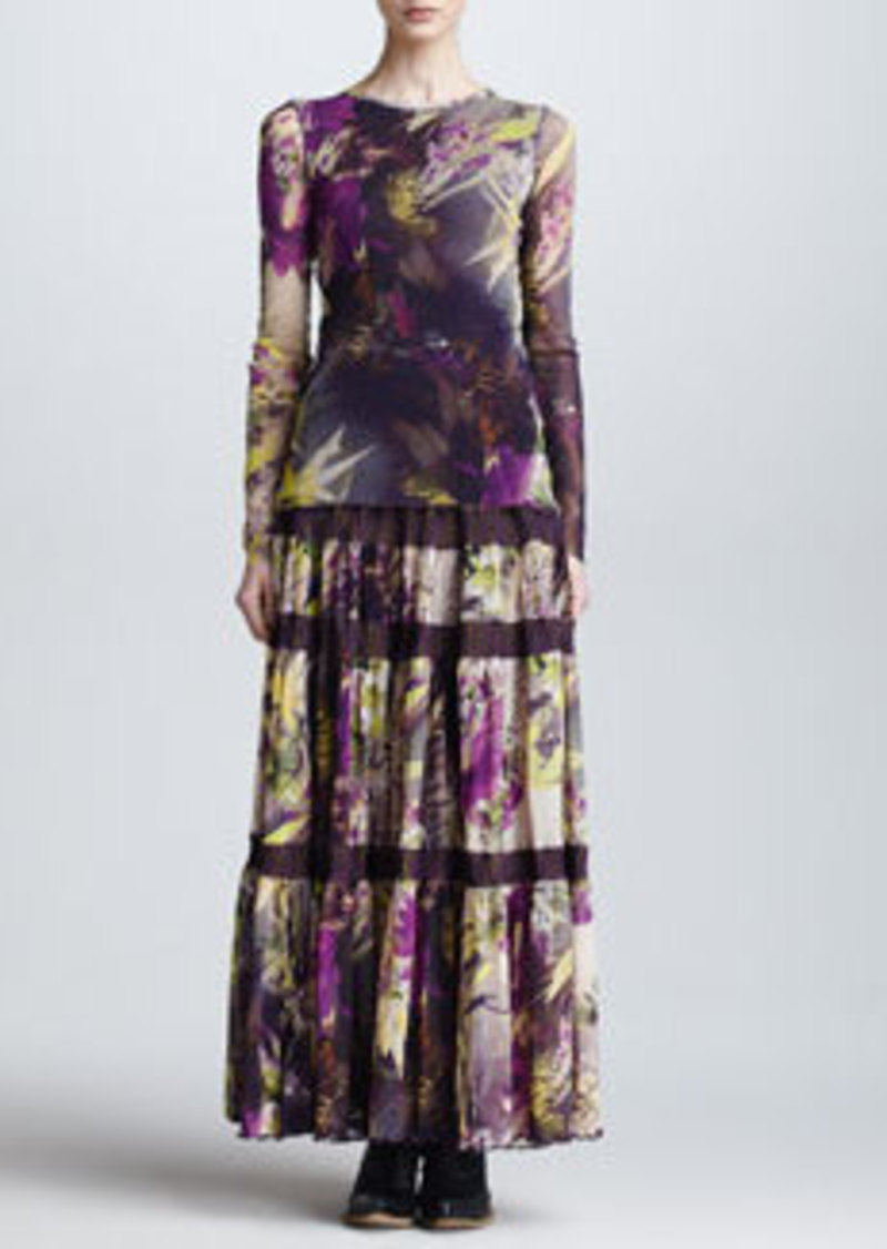 Jean Paul Gaultier Winter Garden Tulle Tiered Maxi Skirt