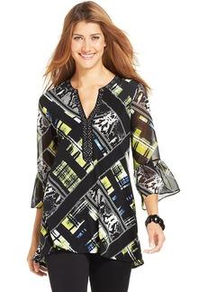 Style&co. Printed Embellished-Neck Tunic