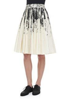 Bottega Veneta Pleated Printed Cotton Skirt, White/Black