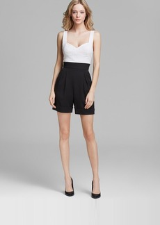 ABS by Allen Schwartz Romper - Sleeveless Suiting with Eyelet Top