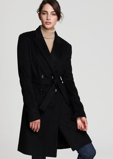 Calvin Klein Wrap Coat with Notch Collar