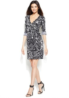 Calvin Klein Roll-Tab-Sleeve Graphic-Print Wrap Dress