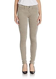 J Brand Mid-Rise Super Skinny Velveteen Jeans