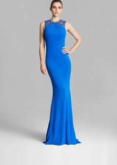 Badgley Mischka Gown - Sleeveless Beaded Jersey Pintucked Bodice