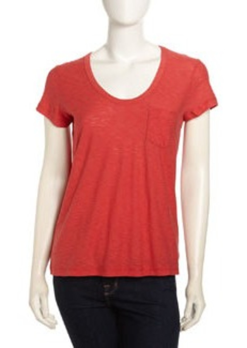James perse james perse boyfriend pocket tee rouge for James perse t shirts sale