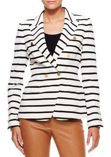 Escada Striped Nautical Blazer, Off White/Black