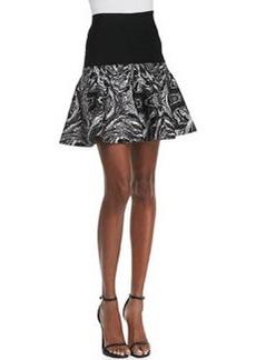 Robert Rodriguez Marbled-Intarsia Flounce Skirt