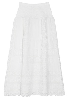 Oscar de la Renta Lace and pleated linen maxi skirt