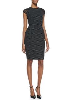 Carmen Marc Valvo Cap-Sleeve Swiss-Dot Sheath Dress, Black/White