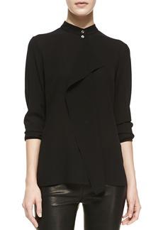 Michael Kors Drape-Front Silk Blouse, Black