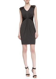 Laundry by Shelli Segal Sleeveless Lace Stretch-Knit Dress, Dark Charcoal