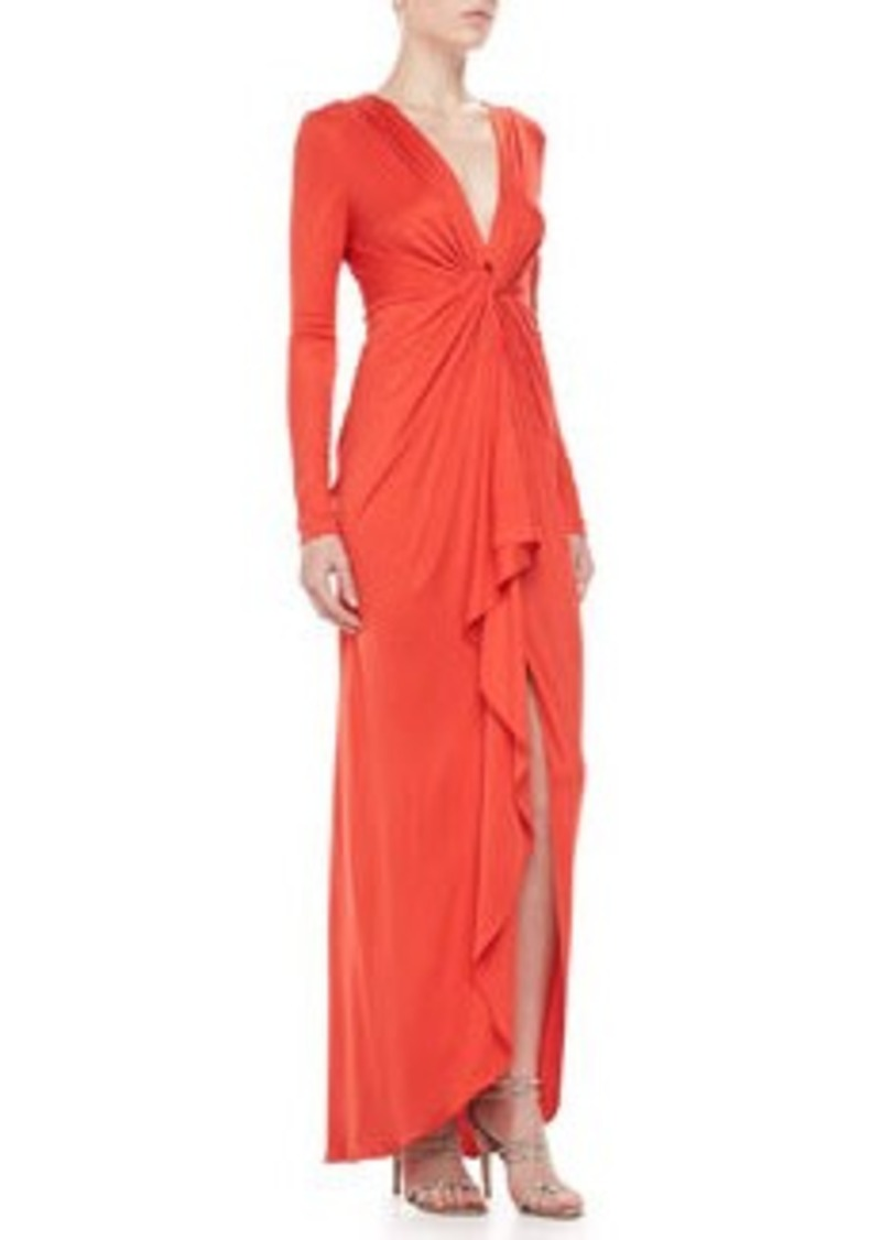 Long-Sleeve Ruffle-Front Gown   Long-Sleeve Ruffle-Front Gown