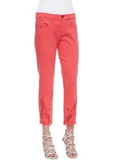 Elie Tahari Mona Eyelet Ankle Jeans, Coral
