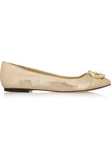 Diane von Furstenberg Delta embellished metallic leather ballet flats